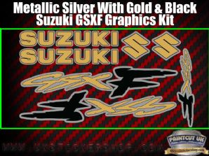 Suzuki GSXF Gold Black Silver Graphics Sticker Kit, 7 piece Set